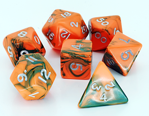 Toxic D20 Poly Dice set - Orange