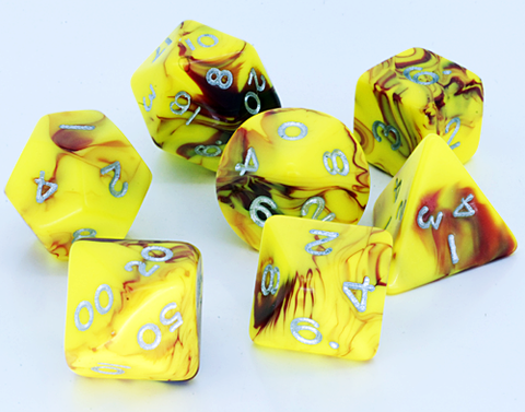 Toxic D20 Poly Dice set - Yellow