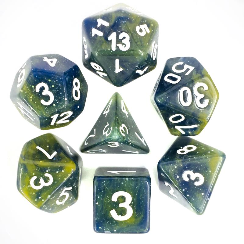 Galaxy D20 Poly Dice set - Green Blue Yellow