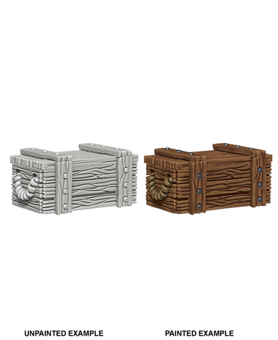 WizKids Deep Cuts Unpainted Miniatures: Crates 73090