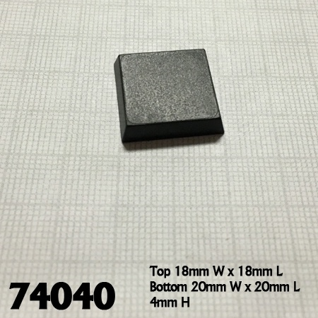 74040: 20mm Square Plastic Flat Top Base (25)