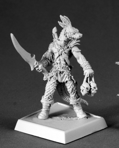 Pathfinder Miniatures -60074: Serpentfolk Warrior by Julie Guthrie: www.mightylancergames.co.uk