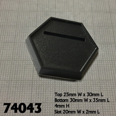 74043: 1 Inch Black Slotted Hex Gaming Base (20)