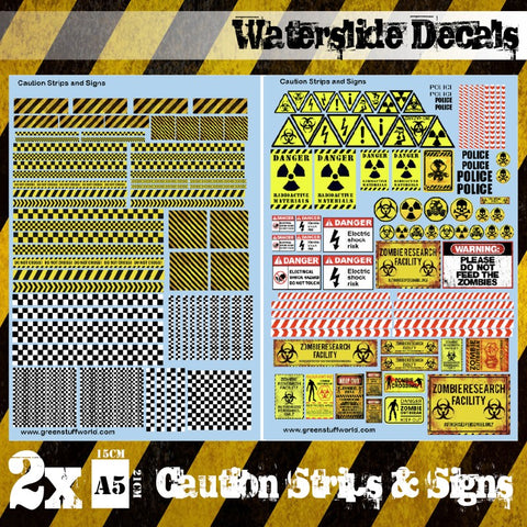 Waterslide Decals - Caution Strips and Signs -Green Stuff World - 2011
