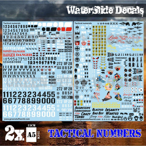 Waterslide Decals - Tactical Numerals and Pinups -Green Stuff World - 2040