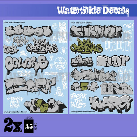 Waterslide Decals - Train and Graffiti Mix - Silver & Gold -Green Stuff World - 2008