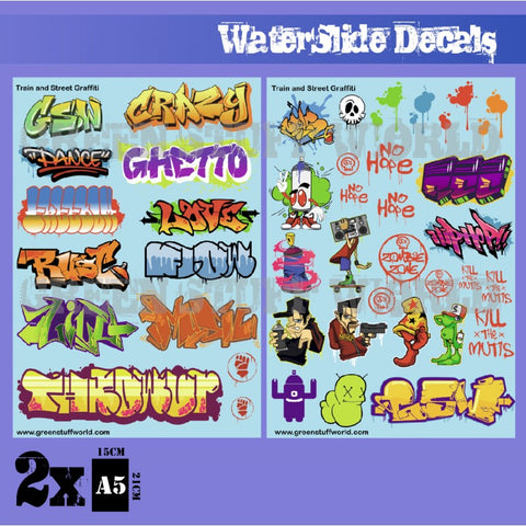 Waterslide Decals - Train and Graffiti Mix- green stuff world mighty lancer games