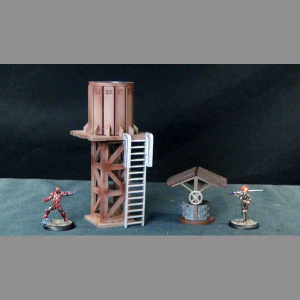 Wild West Scenics - Water Tower and Well (TT Combat MDF) :www.mightylancergames.co.uk