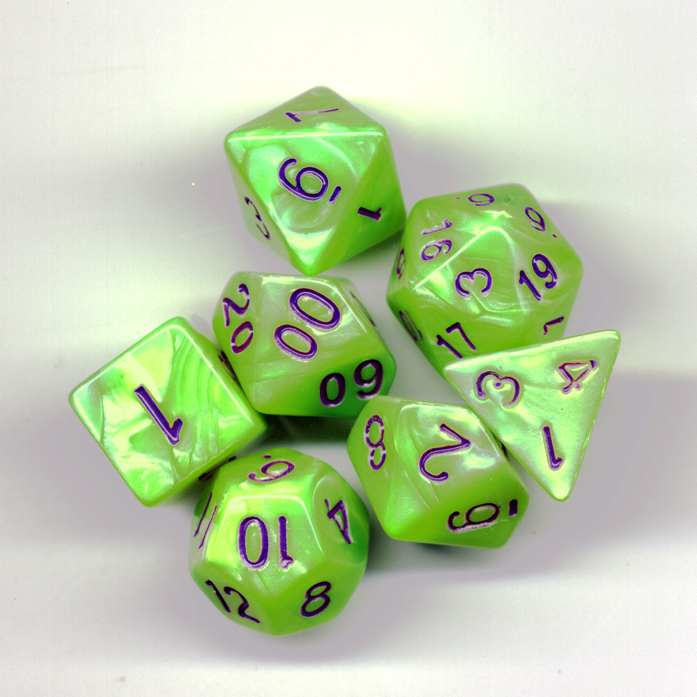 Elemental Dice Set D20 Poly Dice set - Yellow Green / Purple