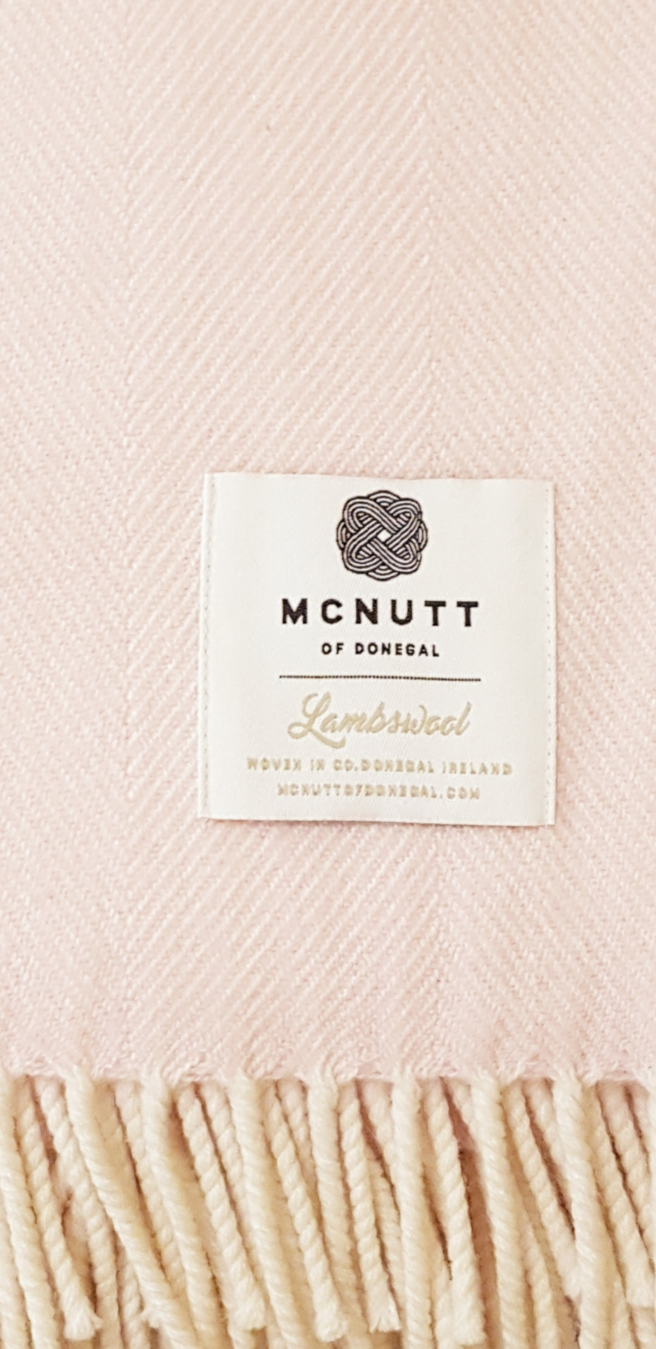 McNutt of Donegal Throw - Supersoft Herringbone Candy Floss