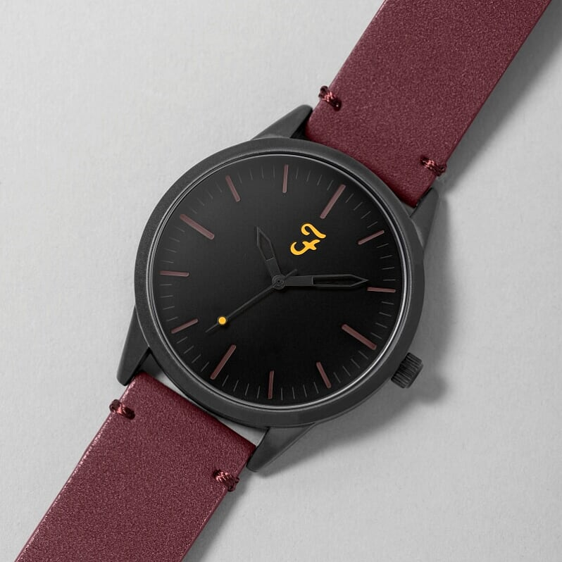 Farah Watch - Burgundy Suede Strap with Black Dial