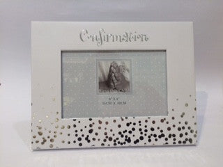 Confirmation Gift Frame - Silver Dots - Bless