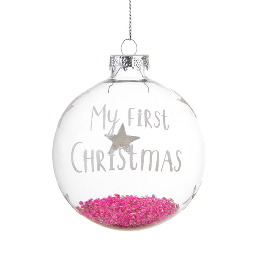 Sass & Belle Hanging Decoration - My First Christmas Pink