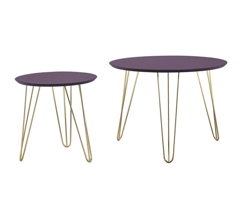 Leitmotiv Side Tables - Aubergine with Gold