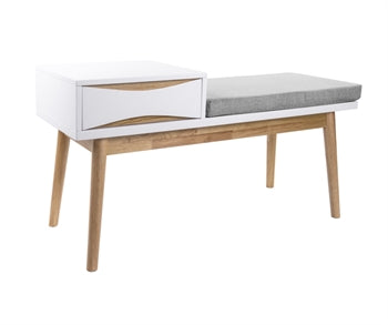 Leitmotiv Bench - Buoyant White with Cushion