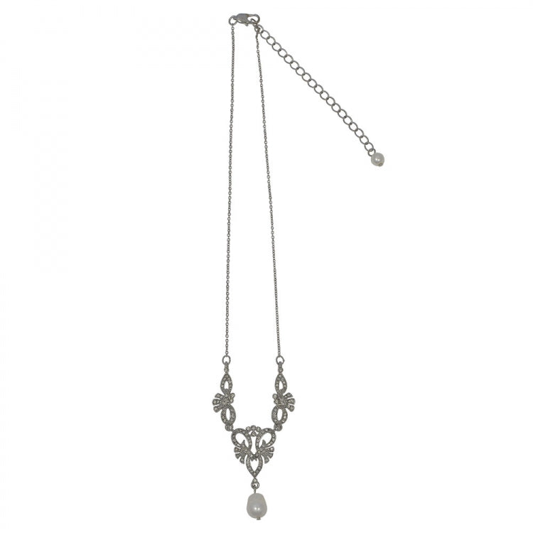 Lovett Pearl Drop Necklace - Silver