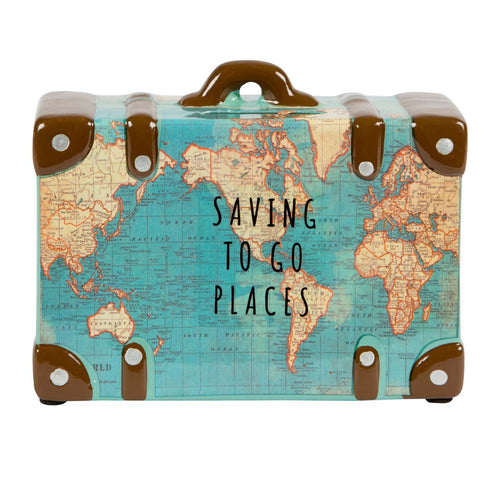 Sass & Belle - Vintage Map Suitcase - Saving to Go Money Box