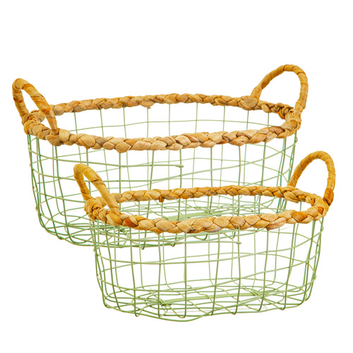 Sass & Belle Basket - Green Wire set of 2