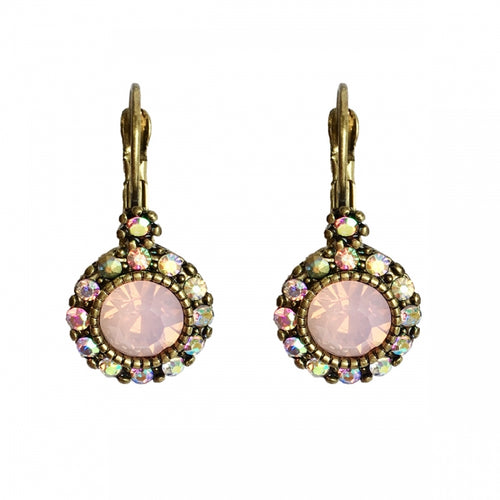 Lovett Earrings - French Clip - Rose or Pacific Opal / Brass