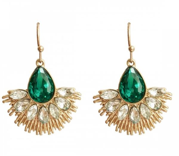 Lovett Earrings - Crystal Fan - Jet or Emerald