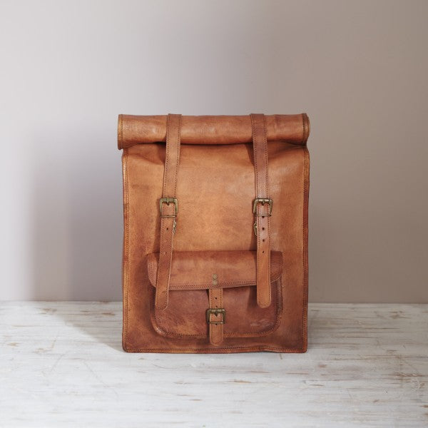 Paper High - Leather Rolltop Backpack