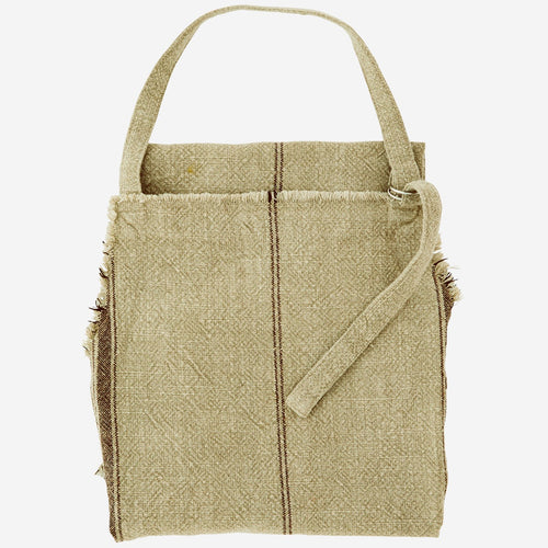 Madam Stoltz Apron - Striped natural with fringe