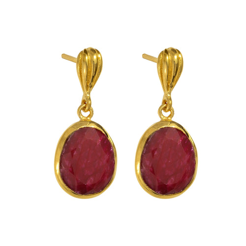 Juvi - Baja Earring - Gold with Ruby
