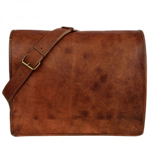 Paper high - Brown Leather Courier/ Messenger Bag Large