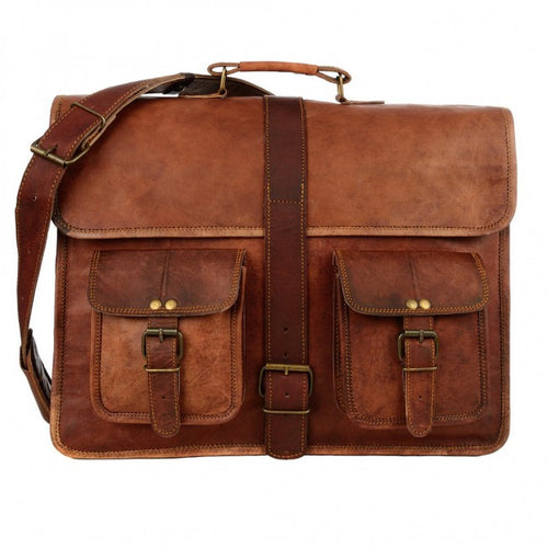 Paper High - Brown Strap Style Leather Satchel Large