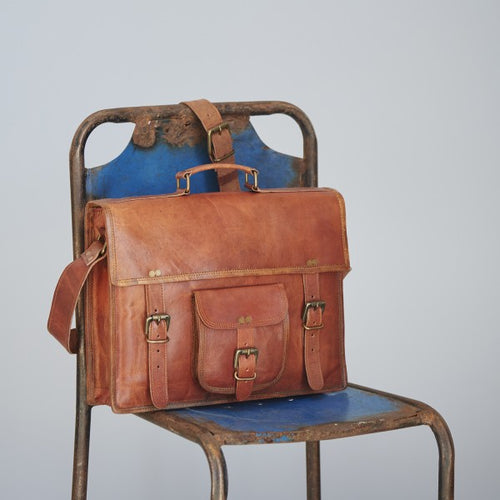 Paper High - Vintage Style Brown Leather Satchel Large
