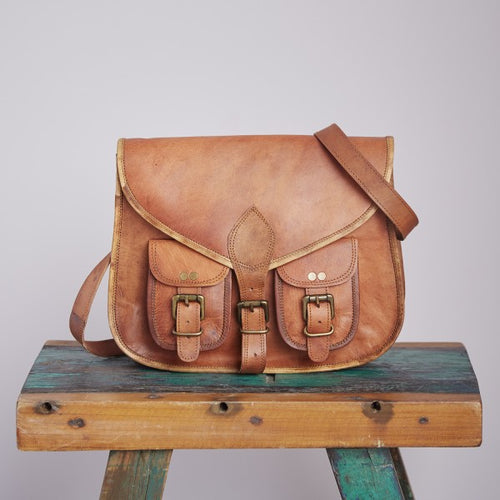 Paper High - Brown Leather Satchel Style Saddle Bag