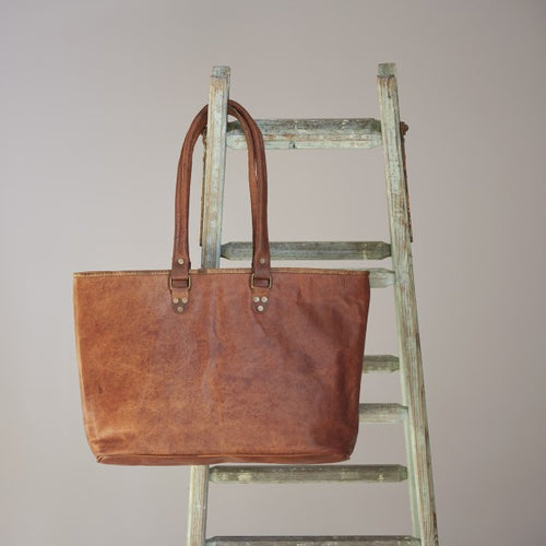 Paper High - Fair Trade Large Brown Leather Shopping Tote Bag