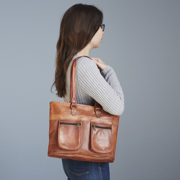 Paper High - Leather Shoulder Bag with pockets