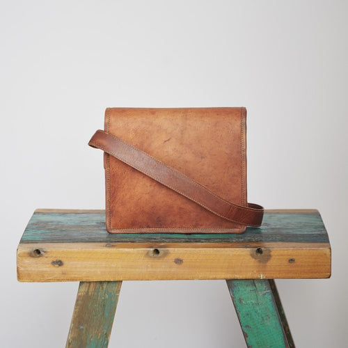 Paper High - Brown Leather Courier/ Messenger Bag - Small