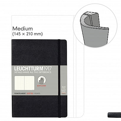 Leuchtturm1917 - A5 Softcover Dotted - Black