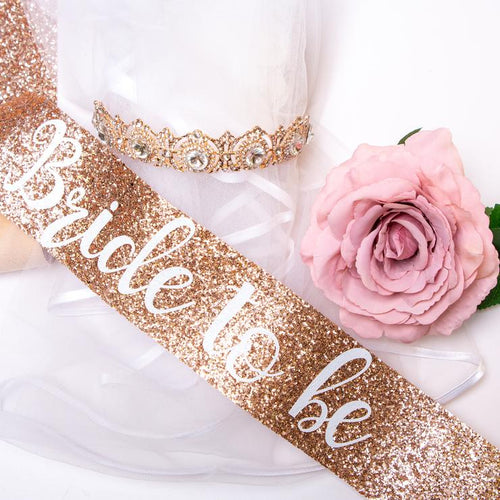 Nora & Katie Bride Sash & Crown Set - Rose Gold