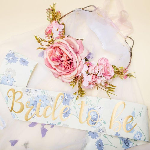 Nora & Katie Bride Sash & Crown Set - Boho