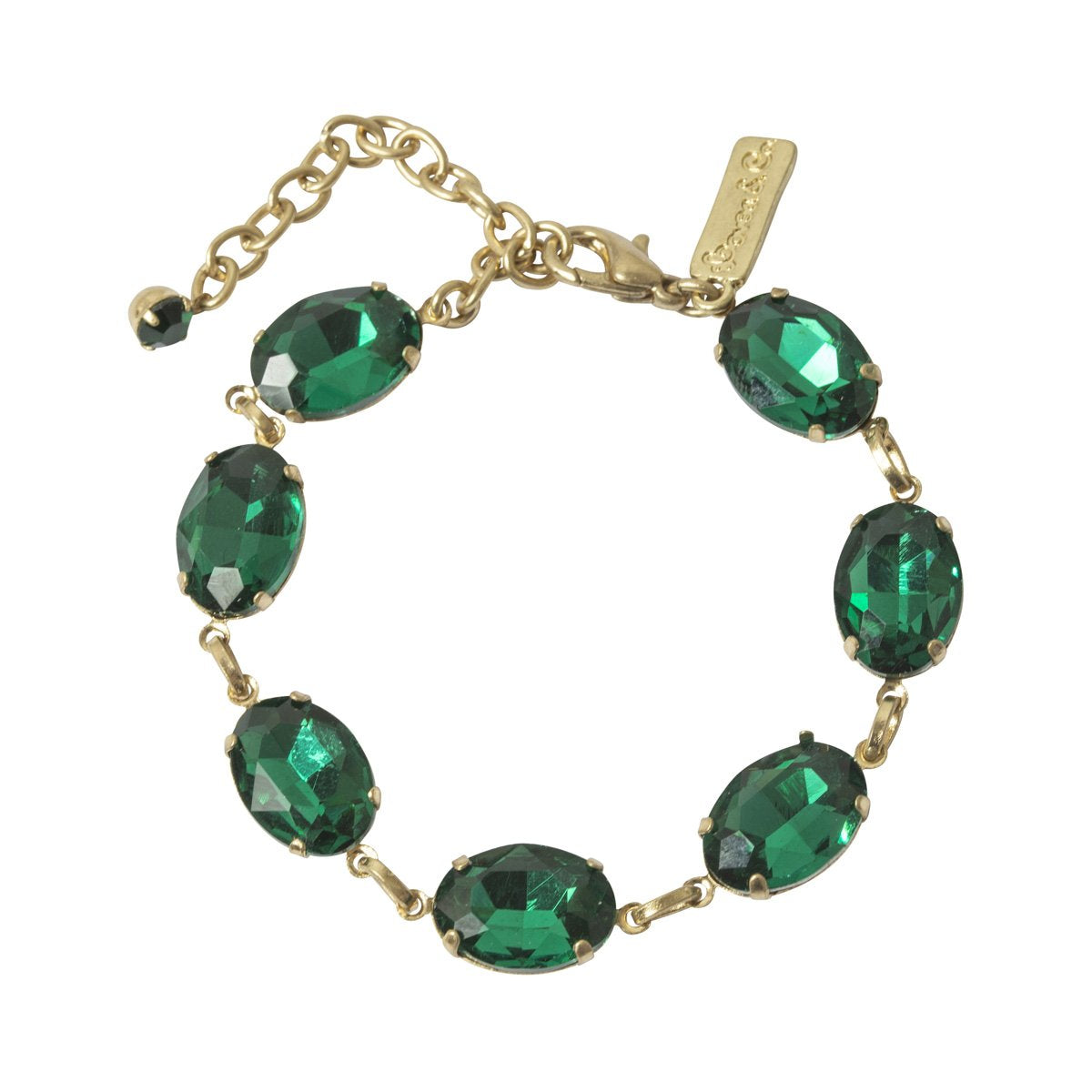 Lovett Bracelet - Oval Stone with Clasp - Emerald or Montana Blue