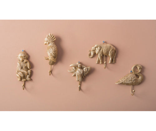 Present Time Interiors Hooks - Gold Animals