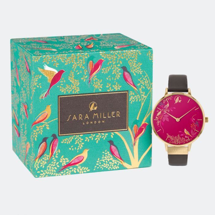 Sara Miller Watch - Chelsea Collection Grey Strap - Pink