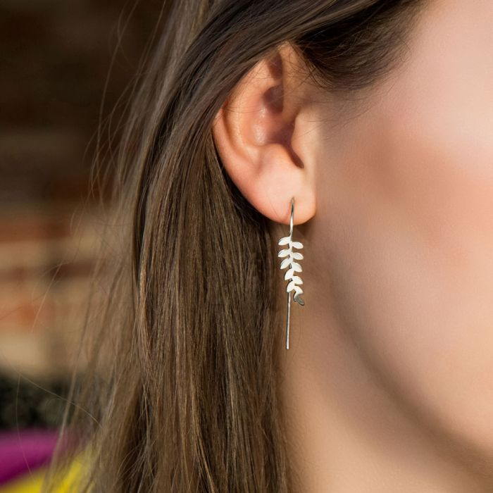 Sara Miller Earrings - Silver Leaf Collection