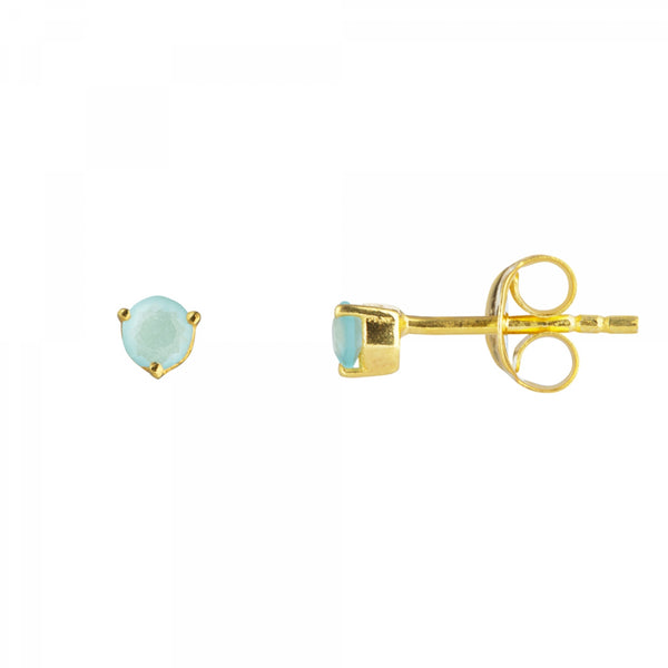 Juvi Tiny Gemstone Studs - 18k Gold Plated Sterling Silver – Unbound