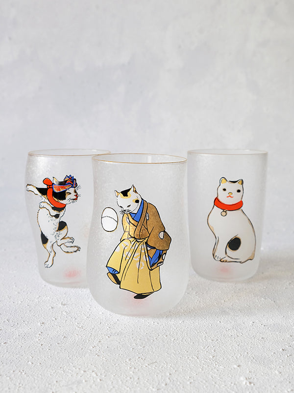 Edo Cats Craft Beer Glasses (Set of 3) - WAZA