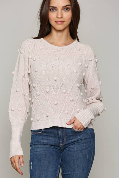 Sand Puff Sleeve Sweater