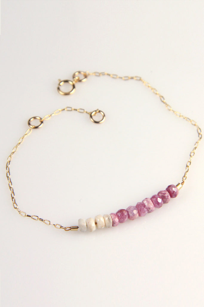 Dainty ombre Sapphire gold filled bracelet