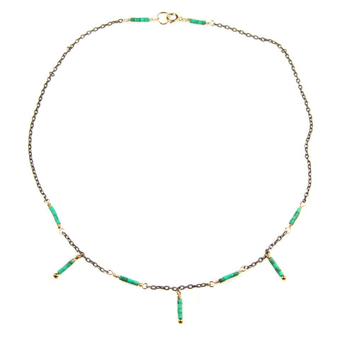 Dainty Turquoise and Oxidized Sterling Silver Necklace