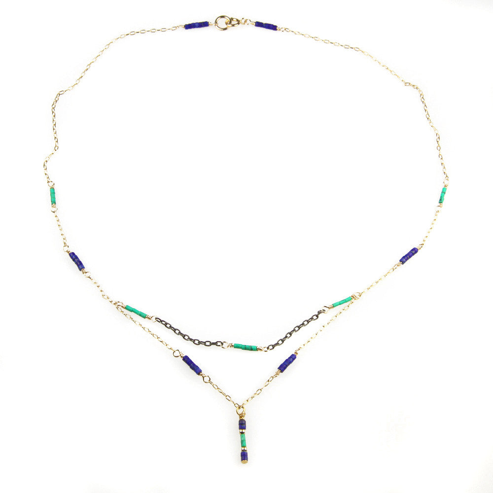 Double Turquoise and Lapis Oxidized Sterling Silver Necklace