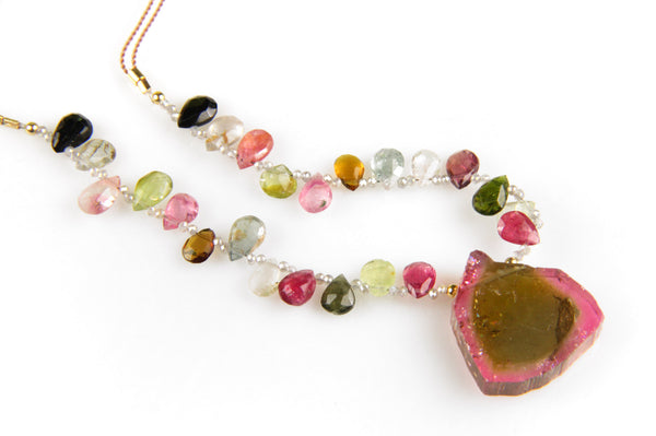 Watermelon Tourmaline Necklace with Rare Blue & Pink Watermelon Tourmaline Slice Pendant