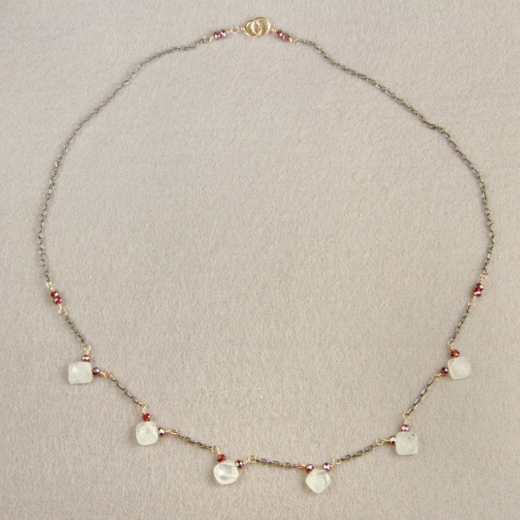 Moonstone and Garnet in Oxidized Sterling Silver Necklace