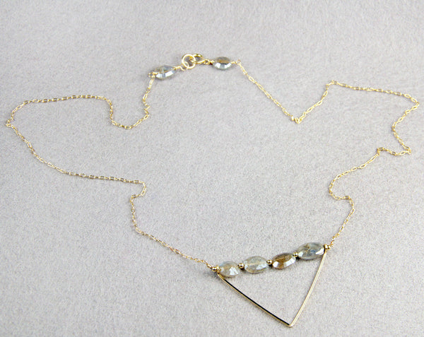 Triangle Labradorite layering necklace on gold filled chain